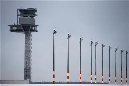 A picture shows the tower of the future Berlin Brandenburg international airport Willy Brandt (BER) in Schoenefeld January 11, 2013. REUTERS/Thomas Peter
