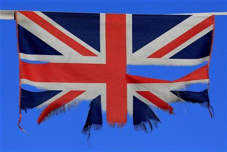 A Union flag flies on a street in South Belfast, January 8, 2013. REUTERS/Cathal McNaughton