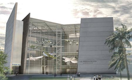 An artist's rendering courtesy of the National World War II Museum and supplied to Reuters January 11, 2013 shows the exterior of the new Freedom Pavilion in New Orleans, Louisiana. One of the largest museums to commemorate the events and sacrifices of World War Two will open a new pavilion as it races to complete a sprawling $350 million complex before the last remaining veterans of the war are gone. REUTERS/National World War II Museum/Handout