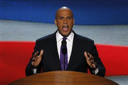 Newark, New Jersey Mayor Cory Booker addresses delegates during the first session of the Democratic National Convention in Charlotte, North Carolina, September 4, 2012. REUTERS/Jason Reed