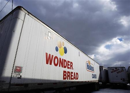 A Wonder Bread delivery truck trailer is seen parked outside the bakery plant in New York January 21, 2011. REUTERS/Shannon Stapleton