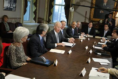 U.S. Vice President Joe Biden (3rd L) convenes a meeting with representatives from the video game industry, in a dialogue about gun violence, in his office in Washington, January 11, 2013. REUTERS/Jonathan Ernst (UNITED STATES - Tags: POLITICS)
