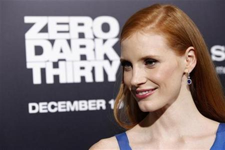 Cast member Jessica Chastain poses at the premiere of ''Zero Dark Thirty'' at the Dolby theatre in Hollywood, California December 10, 2012. The movie opens in the U.S. on January 11. REUTERS/Mario Anzuoni