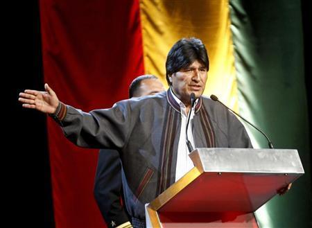 Bolivia's President Evo Morales speaks to his compatriots during a meeting with social movement members at Centro de Convenciones Internacional de Barcelona (CCIB) in Barcelona December 9, 2012. REUTERS/Gustau Nacarino