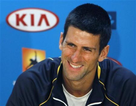 Novak Djokovic of Serbia speaks during a news conference at the Australian Open tennis tournament in Melbourne, January 12, 2013. REUTERS/Navesh Chitrakar