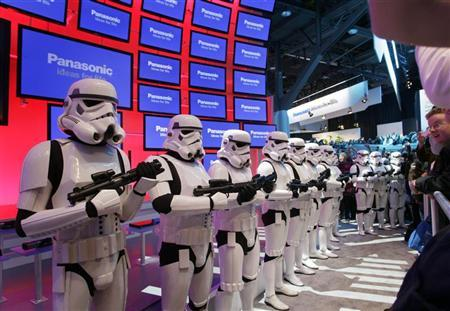 Imperial stormtroopers from the movie Star Wars take up positions at the Panasonic booth the Blu-ray release of the complete Star Wars movie saga during the first day of the 2011 International Consumer Electronics Show (CES) in Las Vegas, Nevada January 6, 2011. REUTERS/Steve Marcus
