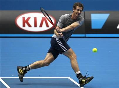 Andy Murray of Britain hits a return during a practice session at the Australian Open tennis tournament in Melbourne, January 12, 2013. REUTERS/Navesh Chitrakar