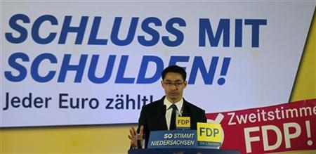 Germany's Economy Minister and leader of the liberal Free Democratic Party (FDP) Philipp Roesler addresses an election campaign in Bissendorf near Osnabrueck January 10, 2013. REUTERS/Wolfgang Rattay (GERMANY - Tags: POLITICS ELECTIONS)