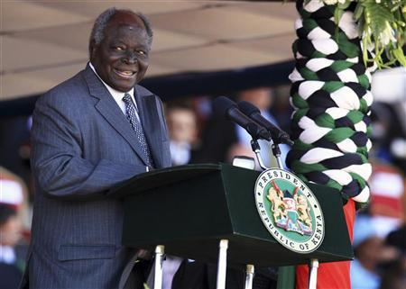 Kenya's President Mwai Kibaki delivers his speech during the national celebrations to mark the 49th Jamhuri Day, the day when Kenya gained independence, at Nyayo National Stadium in Nairobi December 12, 2012. REUTERS/Noor Khamis