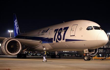 An All Nippon Airways' (ANA) Boeing 787 Dreamliner plane is seen before taking off for the Tokyo-San Jose flight at New Tokyo international airport in Narita, east of Tokyo January 11, 2013. REUTERS/Shohei Miyano