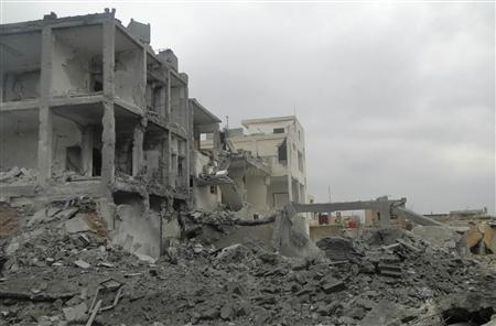 A general view shows buildings damaged by what activists said was shelling by forces loyal to President Bashar al-Assad in Taftanaz village January 12, 2013. REUTERS/Mahmoud Hassano