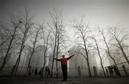 A resident plays with a diabolo in a park during a heavily hazy winter day in Beijing January 12, 2013. REUTERS/Suzie Wong