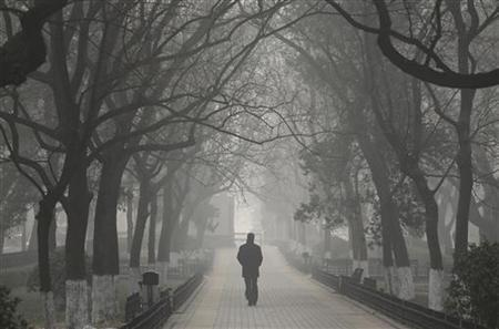 A man walks along trees on a heavy haze winter day in central Beijing, January 12, 2013. REUTERS/Jason Lee