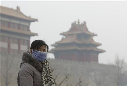 A visitor wearing a mask walks outside the Forbidden City on a heavy haze day in central Beijing January 13, 2013. REUTERS/Jason Lee
