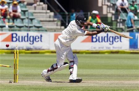 New Zealand's Jeetan Patel is bowled by South Africa's Dale Steyn (not pictured) on day three of the second cricket test match in Port Elizabeth, January 13, 2013. REUTERS/Rogan Ward