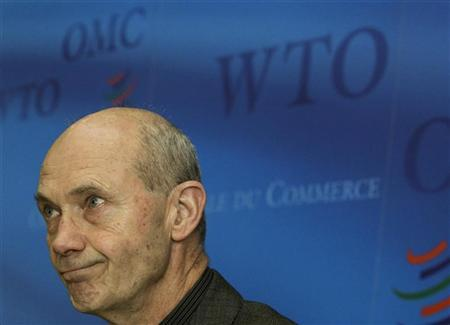 WTO Director-General Pascal Lamy looks on during a news conference at the World Trade Organization headquarters in Geneva April 7, 2011. REUTERS/Denis Balibouse
