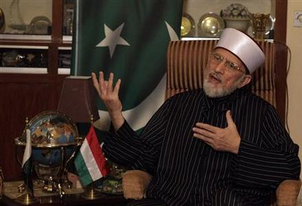 Muhammad Tahirul Qadri, leader of the Mihaj-ul-Quran movement, speaks during an interview with Reuters at his headquarters in Lahore January 11, 2013. REUTERS/Mohsin Raza