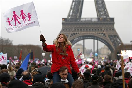 A demonstrator waves a flag on the Champ de Mars near the Eiffel Tower in Paris, to protest France's planned legalisation of same-sex marriage, January 13, 2013. REUTERS/Charles Platiau