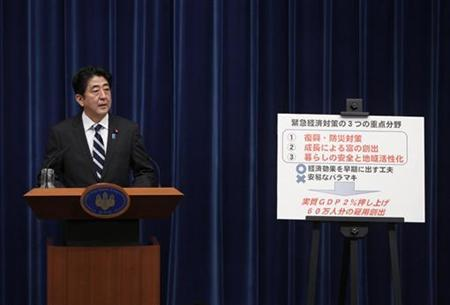 Japan's Prime Minister Shinzo Abe speaks next to a placard showing the government's emergency economic stimulus plan during a news conference at his official residence in Tokyo January 11, 2013. REUTERS/Issei Kato