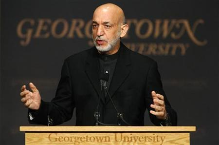 Afghanistan's President Hamid Karzai speaks at Georgetown University's Gaston Hall in Washington January 11, 2013. REUTERS/Jonathan Ernst