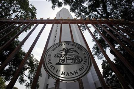 The Reserve Bank of India (RBI) logo is pictured outside its head office in Mumbai May 3, 2011. REUTERS/Danish Siddiqui/Files