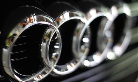 An Audi A4 logo is pictured at the production line of the German car manufacturer's plant in the Bavarian city of Ingolstadt February 29, 2012. REUTERS/Michaela Rehle