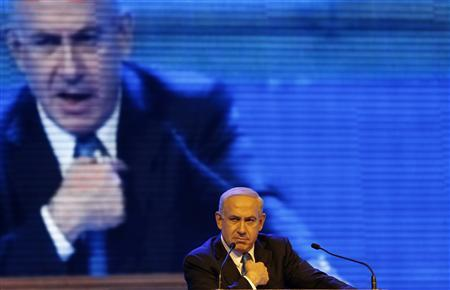 Israel's Prime Minister Benjamin Netanyahu speaks during the launch of his Likud Beiteinu party campaign in Jerusalem in this December 25, 2012 file photo. REUTERS/Ronen Zvulun/Files