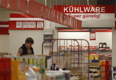 A woman looks at goods in a supermarket in the western city of Herne September 11, 2012. Banner reads 'frozenfood'. Picture taken September 11. REUTERS/Ina Fassbender (GERMANY - Tags: BUSINESS)