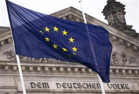 The EU flag flies outside the Reichstag, the seat of Germany's lower house of parliament, the Bundestag, in Berlin November 29, 2012. REUTERS/Thomas Peter