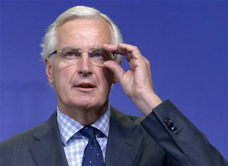Michel Barnier, the European Commissioner in charge of regulation, speaks at a news conference in Brussels October 2, 2012. REUTERS/Eric Vidal