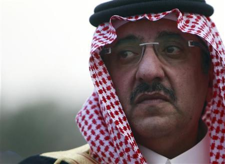 Saudi Deputy Interior Minister Prince Mohammed bin Nayef bin Abdul Aziz listens to the national anthem as members of the Saudi security forces take part in a military parade in preparation for the annual haj pilgrimage in Mecca October 20, 2012. REUTERS/Amr Abdallah Dalsh