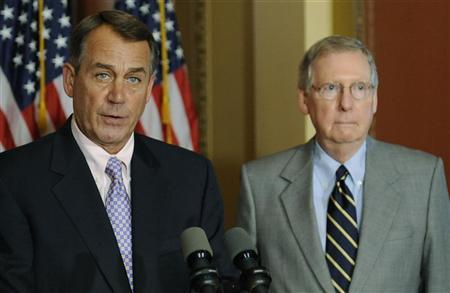 U.S. House Speaker John Boehner (R-OH) (L) and Senate Minority Leader Mitch McConnell (R-KY) (R) hold a news conference about the U.S. debt ceiling crisis at the U.S. Capitol in Washington July 30, 2011. REUTERS/Jonathan Ernst