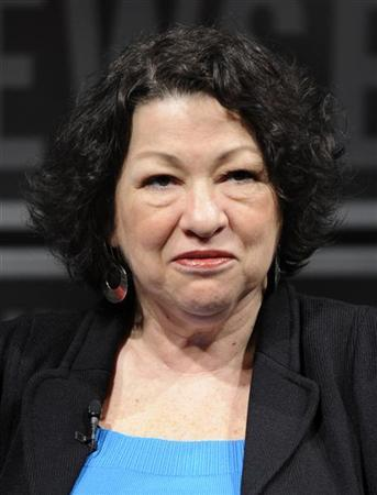 Supreme Court Justice Sonia Sotomayor, who was nominated by President Barack Obama, attends a forum at the Newseum to mark the 30th anniversary of the first female Justice Sandra Day O'Connor's first term on the Supreme Court in Washington, DC, April 11, 2012. REUTERS/Mike Theiler