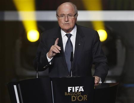 FIFA President Sepp Blatter speaks during the FIFA Ballon d'Or 2012 soccer awards ceremony at the Kongresshaus in Zurich January 7, 2013. REUTERS/Michael Buholzer