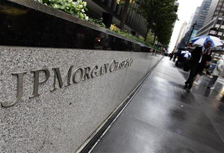 The entrance to JPMorgan Chase's international headquarters on Park Avenue is seen in New York October 2, 2012. Federal and state officials pledged on Tuesday to bring more cases against misconduct that fueled the financial crisis, after New York sued JPMorgan Chase & Co late Monday over mortgage-backed securities packaged and sold by Bear Stearns. REUTERS/Shannon Stapleton (UNITED STATES - Tags: BUSINESS CRIME LAW)