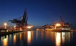 Container ships are loaded at the Container Terminal Burchardkai (R) and the Eurogate terminal (L) at Hamburg harbour March 30, 2009. The Burchardkai terminal of the Hamburger Hafen und Logistik AG (HHLA) is the largest container handling facility in the Port of Hamburg. HHLA will hold its annual news conference on March 31 in Hamburg. REUTERS/Christian Charisius (GERMANY BUSINESS TRANSPORT)