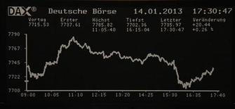 Las bolsas europeas caían por cuarto día seguido en la apertura del martes y tocaban un mínimo de dos semanas, con el sector bancario al frente de las bajas por una presión técnica que se prevé que continúe en el corto plazo. En la imagen, un gráfico de la bolsa de Fráncfort el 14 de enero de 2013. REUTERS/Remote/Lizza David