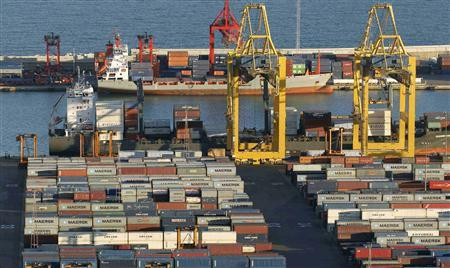 A general view of a cargo terminal at the Port of Barcelona January 11, 2013. REUTERS/Albert Gea