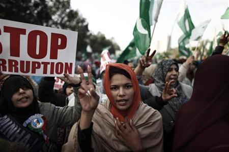 A supporter of Sufi cleric and leader of Minhaj-ul-Quran Muhammad Tahirul Qadri gestures as she takes part in a protest in Islamabad January 15, 2013. REUTERS/Zohra Bensemra (PAKISTAN - Tags: POLITICS RELIGION CIVIL UNREST TPX IMAGES OF THE DAY)