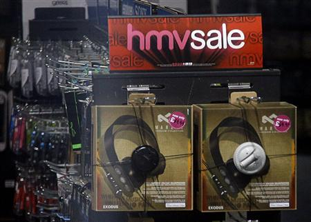 Headphones are seen on sale in a branch of British retail music chain HMV on Oxford Street in London January 14, 2013. Music and DVD retailer HMV may announce as soon as Monday that it will call in the administrators, according to a source close to the company and media reports, bringing the curtain down on one of Britain's best-known high street stores. REUTERS/Chris Helgren