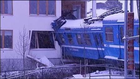 Video screenshot of a train which crashed into a house in Sweden on January 15, 2012 after it was stolen by a cleaning lady. REUTERS/VIDEO