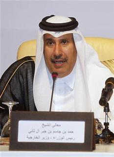 Qatari Prime Minister Sheikh Hamad bin Jassim Al-Thani speaks during the General Assembly of the Syrian National Council in Doha November 11, 2012. REUTERS/Mohammed Dabbous