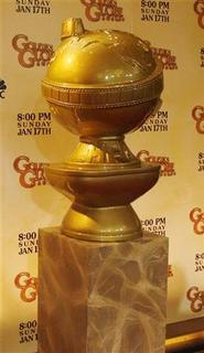 A large Golden Globe Award statue used as a prop is displayed on stage as Golden Globe Award nominations are announced in Beverly Hills December 15, 2009. REUTERS/Fred Prouser