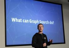 "L'AD di Facebook Mark Zuckerberg al lancio di ""Graph Search"". REUTERS/Robert Galbraith"