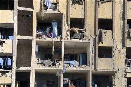 A view shows destruction after two explosions that rocked the University of Aleppo January 15, 2013, in this handout photograph released by Syria's national news agency SANA. REUTERS/SANA
