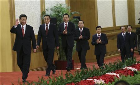 China's new Politburo Standing Committee members (from L to R) Xi Jinping, Li Keqiang, Zhang Dejiang, Yu Zhengsheng, Liu Yunshan, Wang Qishan and Zhang Gaoli, arrive to meet with the press at the Great Hall of the People in Beijing, November 15, 2012. REUTERS/China Daily