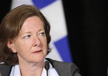 Alberta premier Alison Redford listens to a question from the press during a press conference concluding the meeting of the Council of the Federation in Halifax, Nova Scotia, July 27, 2012. REUTERS/ADAM SCOTTI