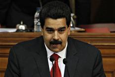 Venezuela's Vice President Nicolas Maduro delivers the state of nation address to national assembly in Caracas January 15, 2013. Maduro delivered the state of nation in absence of President Hugo Chavez who still recovering from a cancer surgery in Cuba. REUTERS/Carlos Garcia Rawlins (VENEZUELA - Tags: POLITICS)