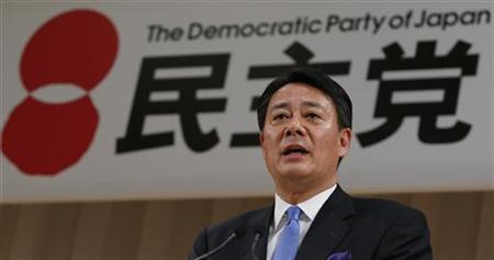 New leader of the Democratic Party of Japan (DPJ) and former trade minister Banri Kaieda speaks during a news conference after he is elected leader of the DPJ at the DPJ leadership election in Tokyo December 25, 2012. REUTERS/Toru Hanai