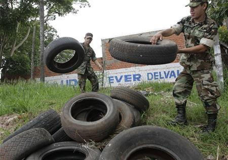 Paraguayan soldiers collect discarded tyres to prevent mosquitoes breeding at the start of a campaign combating the spread of dengue fever, in Villa Elisa city near Asuncion January 9, 2013. REUTERS/Jorge Adorno